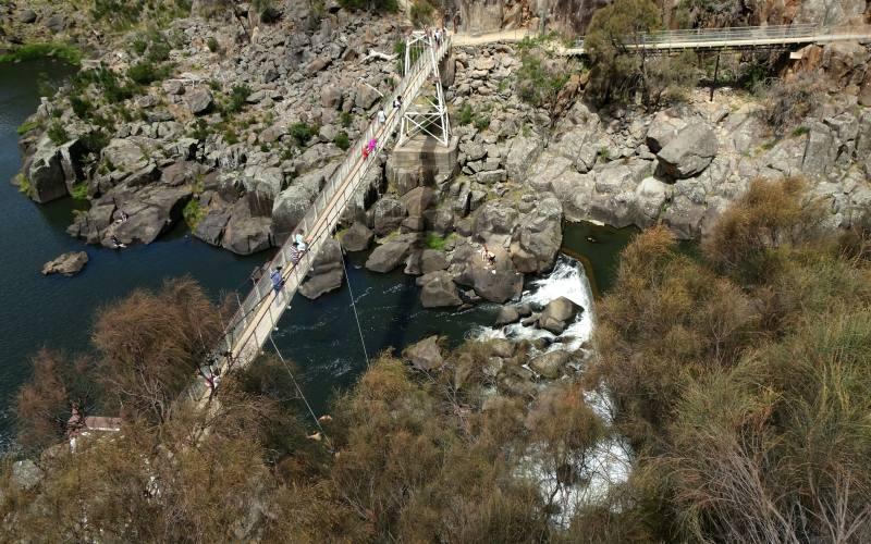 Il ponte sospeso Alexandra Suspension Bridge nella Cataract Gorge di Launceston