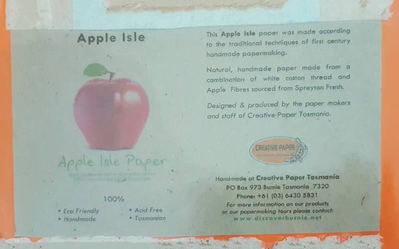 Carta ricavata dalle mele di Spreyton Fresh, dove lavoravamo, al The Makers' Workshop di Burnie