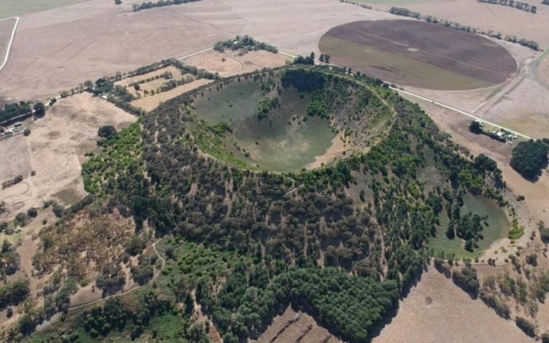 Ex-cratere vulcanico Mount Schank visto dall'alto in South Australia