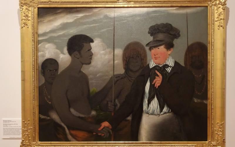 Quadro sui primi incontri amichevoli coloni inglesi e aborigeni nell'Art Gallery di Launceston