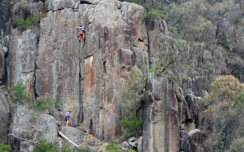 Scalatori che si arrampicano sulle pareti della Cataract Gorge di Launceston in Tasmania