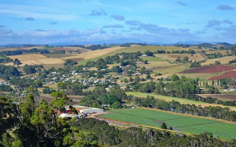 Punto panoramico con vista sulle colline della Tasmania, in Australia