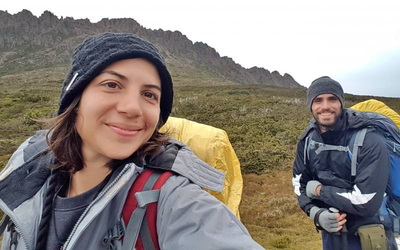 Selfie con Cradle Mountain durante l'Overland Track