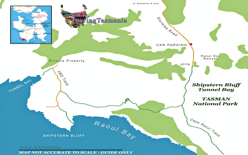 Mappa del percorso di trekking Cape Raoul Track, Shipstern Bluff e Tunnel Bay sulla Tasman Peninsula