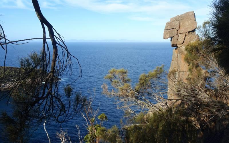 """Totem di roccia nel percorso """"Fluted Cape"""" nell'isola di Bruny Island in Tasmania"""