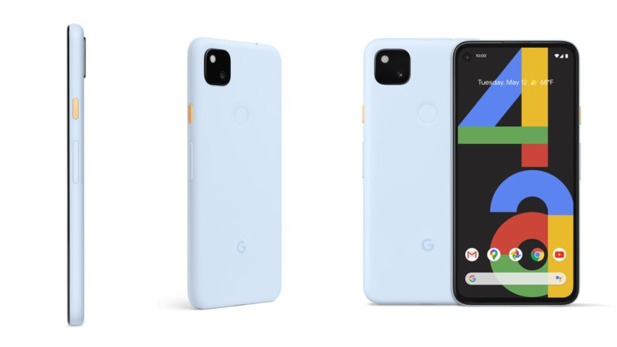 Google Pixel 4a Barely blue all angles press image