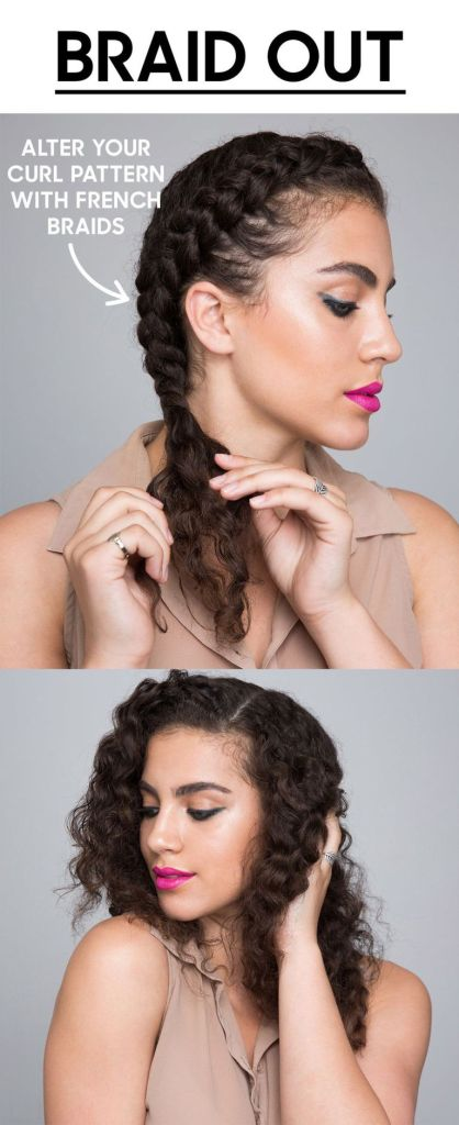 Braid out style for curly hair