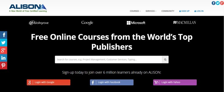 Free Online Learning Sites - Alison
