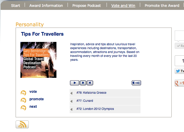European Podcast Awards Tips for Travellers Podcast Voting Page