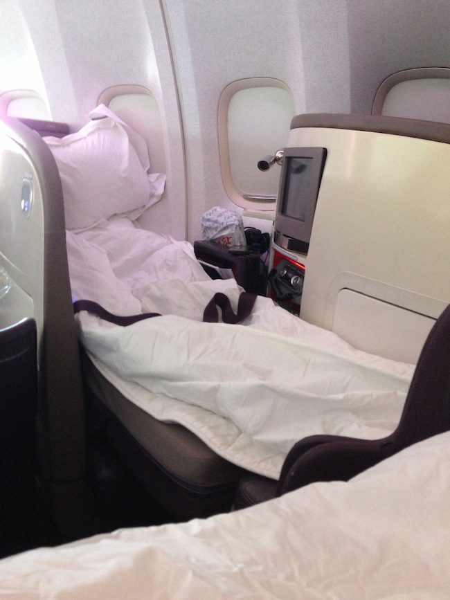 Virgin Upper Class Seat Made into flatbed