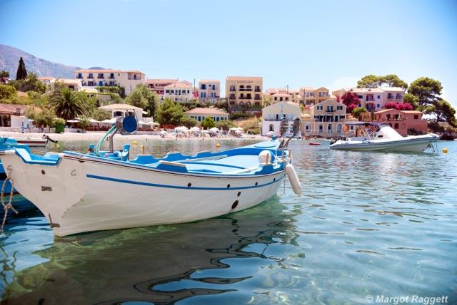 Boats at Assos Kefalonia by Margot Raggett Photography