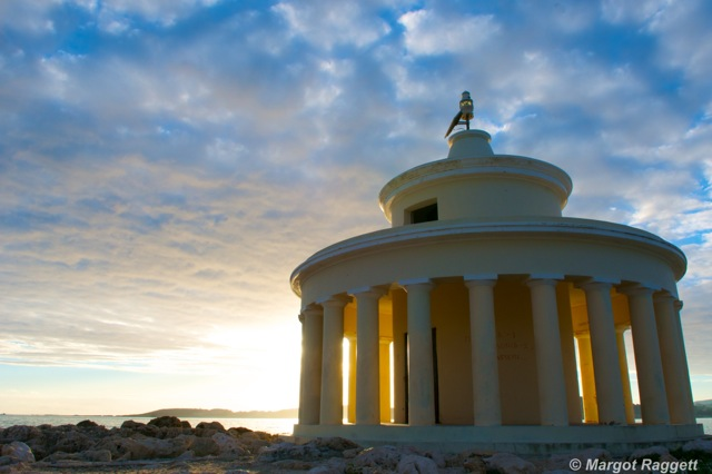 Kefalonia Light House at Sunset by Margot Raggett Photography