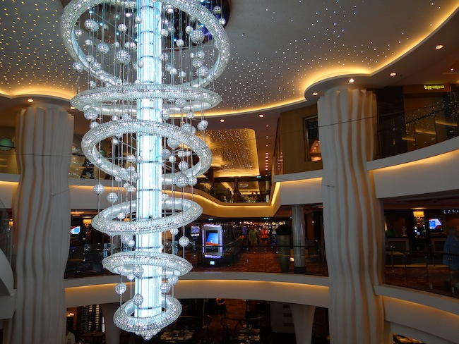 The imposing chandelier on Norwegian Epic