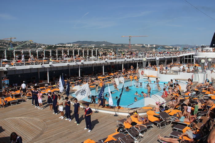 MSC Cruises Lirica entertainment team host a sail-out party from most ports