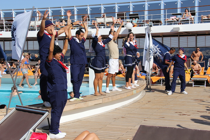 MSC Cruises Lirica Entertainment Team perform on deck 11