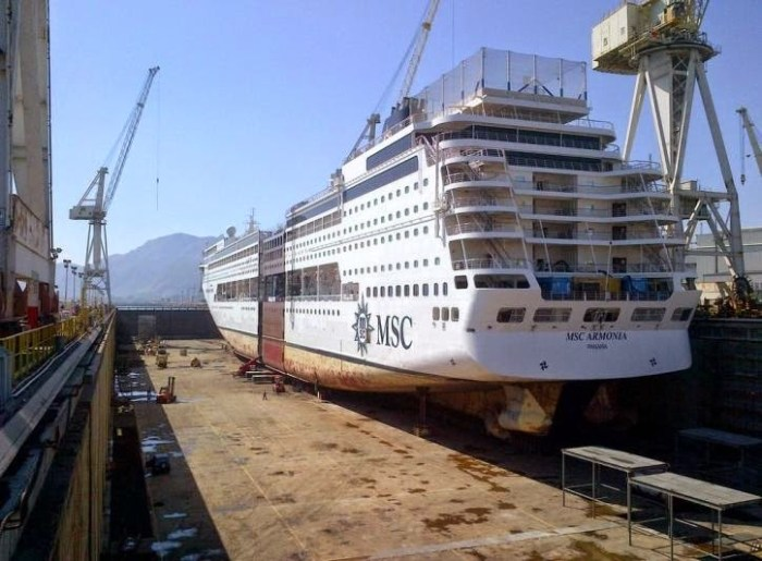 MSC Armonia in Dry Dock with mid section added