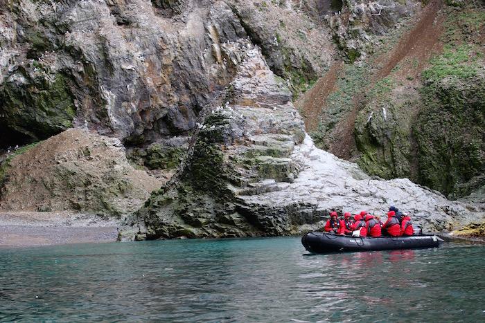Zodiacs exploring Bear Island in Arctic