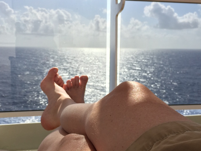 Relaxing on the balcony on Queen Victoria