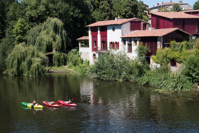 Kayaks in the river passing through Clisson France