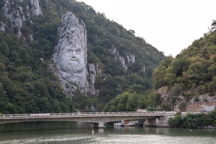 Cliff carving of Decebalus in Kazans Danube on Romania / Serbia Border