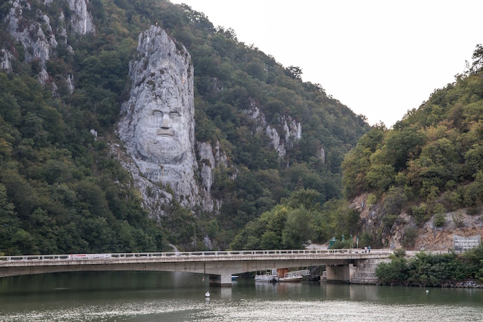 Cliff carving of Decebalus in Kazans Danube on Romania / Serbia Border