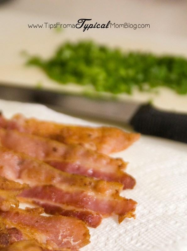 Bacon getting ready to go into the potato soup