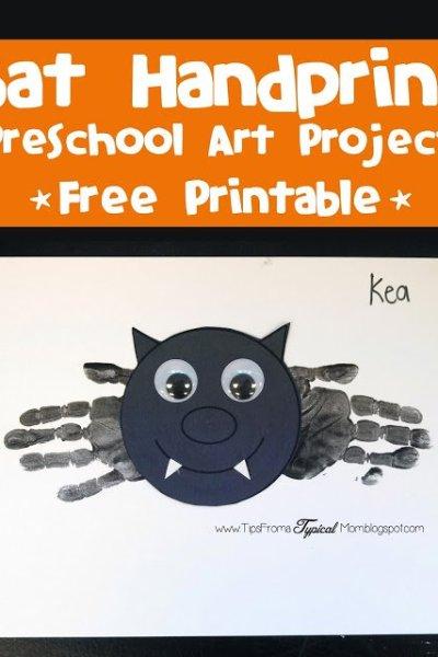 Bat Hand prints~ Halloween Preschool Activity & Free Printable