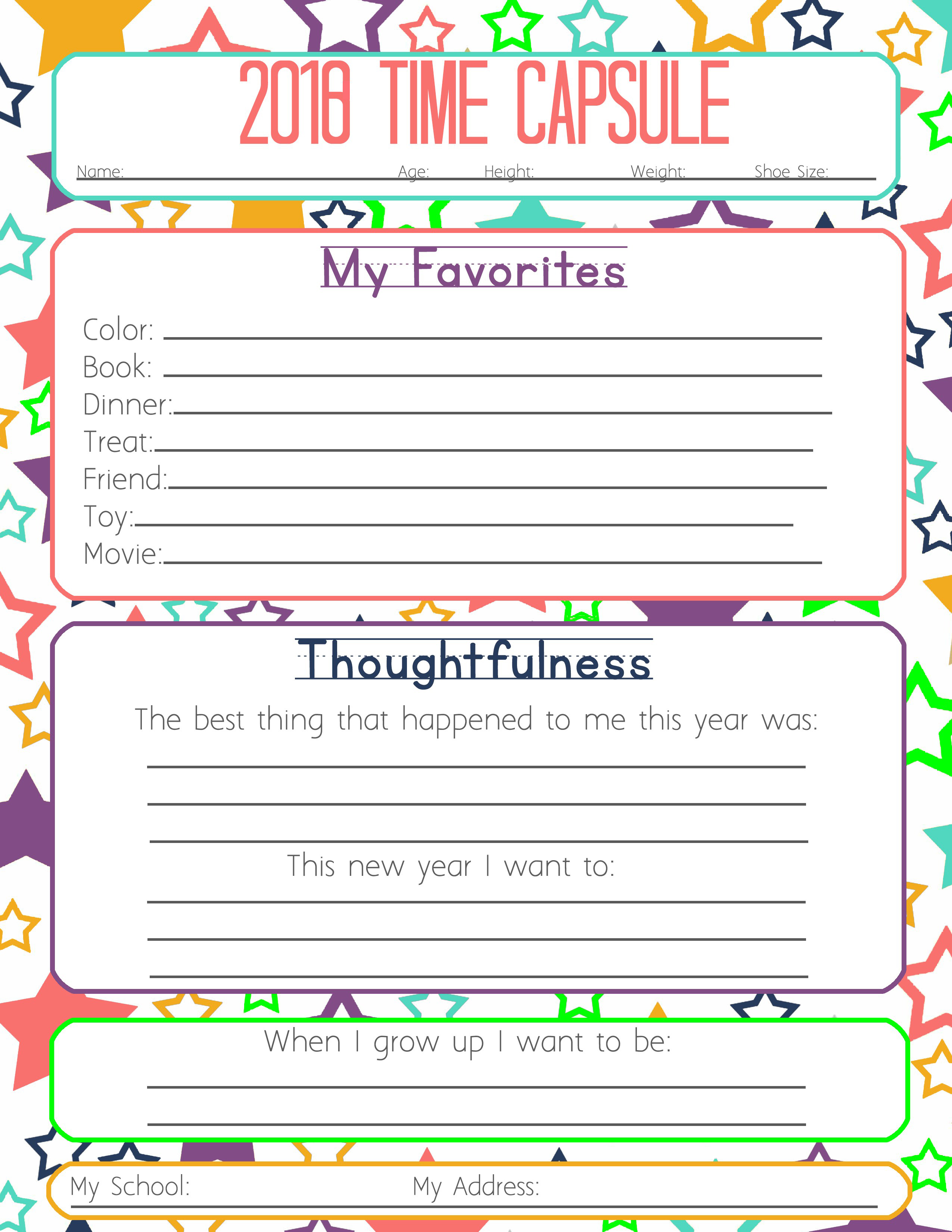photograph about Time Capsule Printable named Manufacturing Contemporary Yrs Resolutions with your Little ones- Totally free Printable