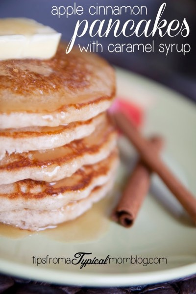 Fresh Apple Cinnamon Pancakes with Homemade Caramel Syrup