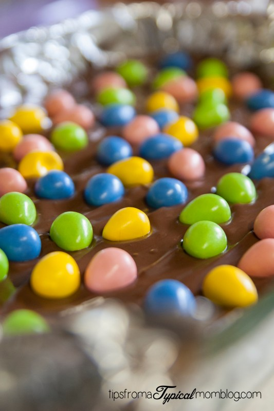 Reese's Pieces Easter Egg No Bake Peanut Butter Bars