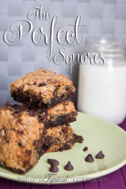 The Perfect Squares- Layered Chocolate Chip Cookie and Brownie Bars. Recipe from Tips From a Typical Mom.