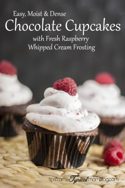 Moist Chocolate Cupcakes with Fresh Raspberry Whipped Cream Frosting