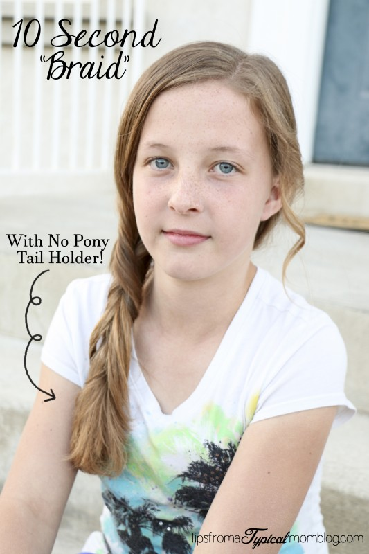 "10 second ""braid"" with No Pony Tail Holder!"