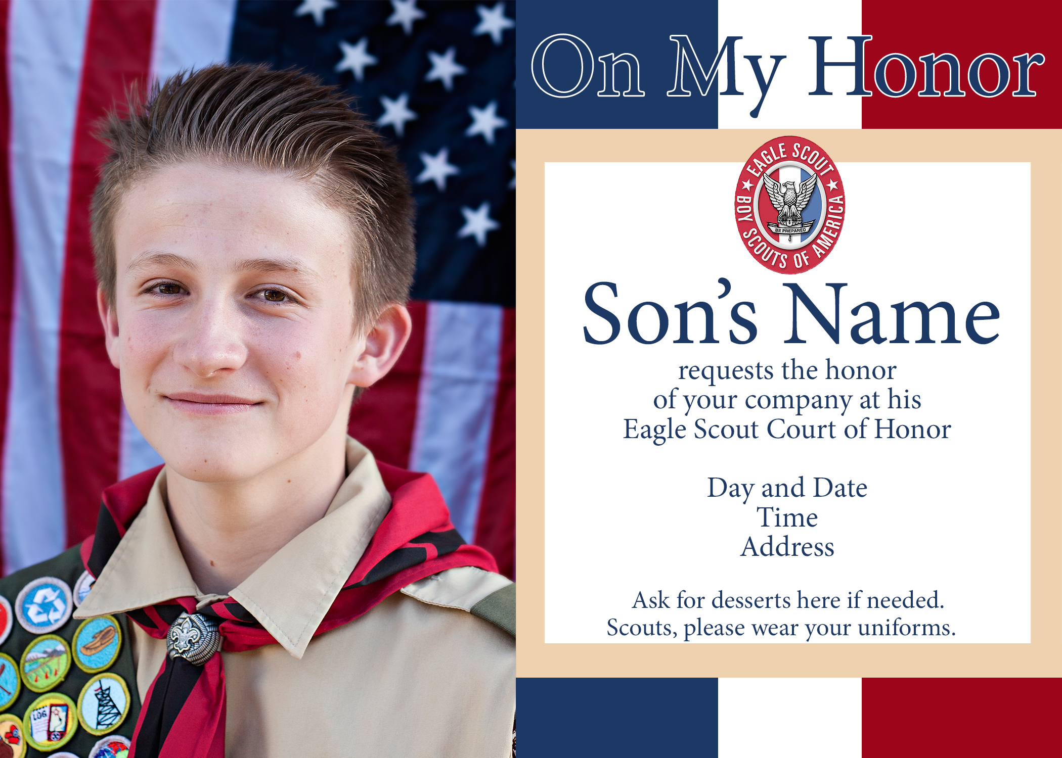 photograph regarding Eagle Scout Congratulations Card Printable known as Eagle Scout Courtroom of Honor Options and No cost Printables