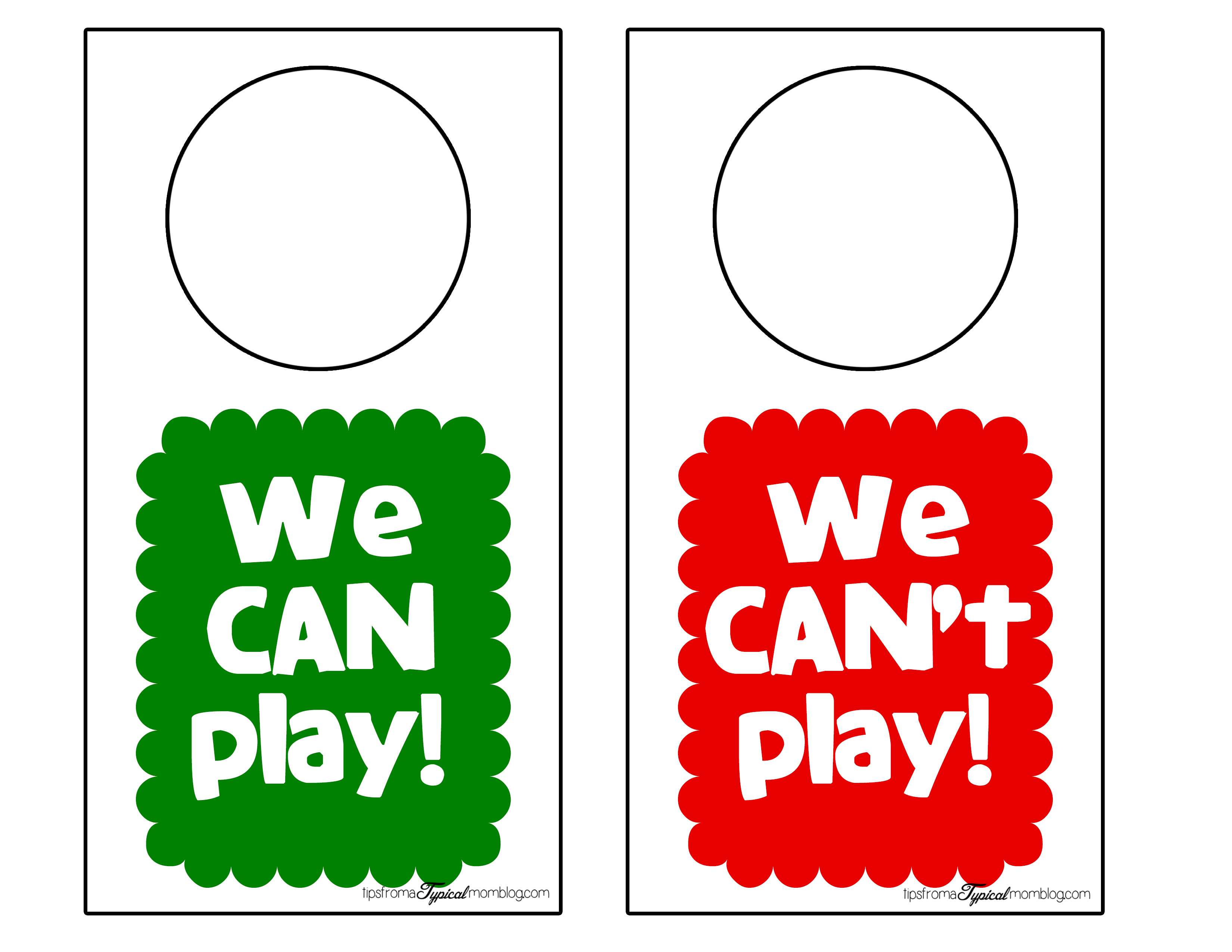 We Can Can T Play Door Hangers Free Printable