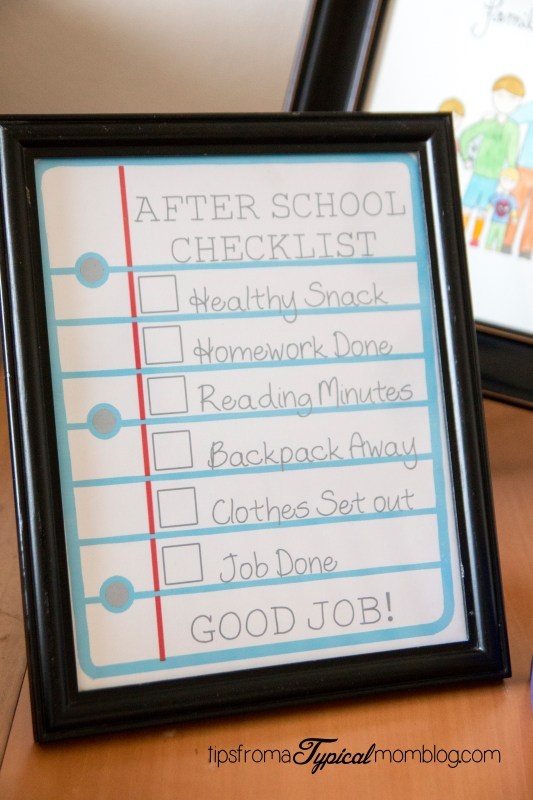 After School Checklist for Kids