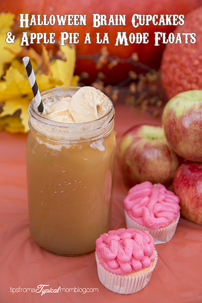"Apple Pie A La Mode Float & Sunkist TEN ""Brain"" Halloween Cupcakes"