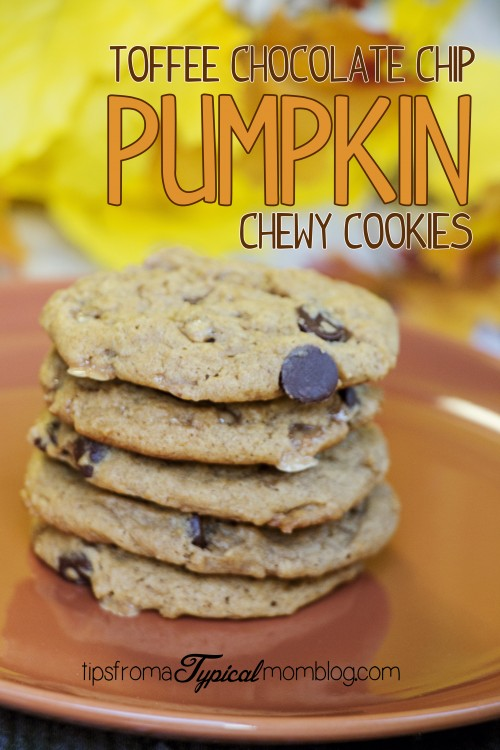 Pumpkin Toffee Chocolate Chip Chewy Cookies- NOT Cake-like!