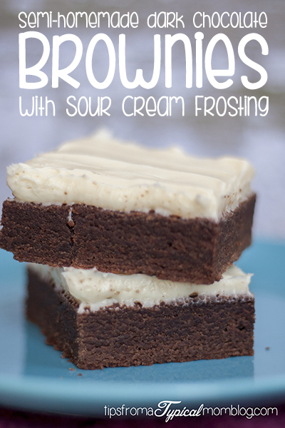 Semi-Homemade Dark Chocolate Brownies with Sour Cream Frosting