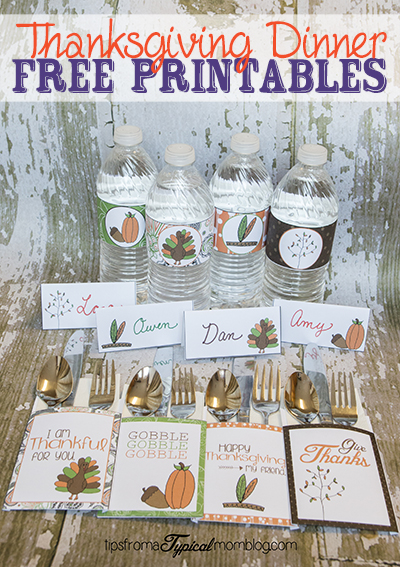 Thanksgiving Dinner Printables- Utensil Holders, Water ...