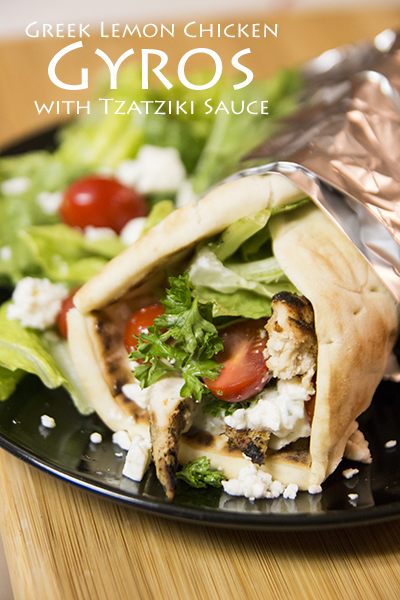 Greek Lemon Chicken Gyros With Fresh Tzatziki Sauce