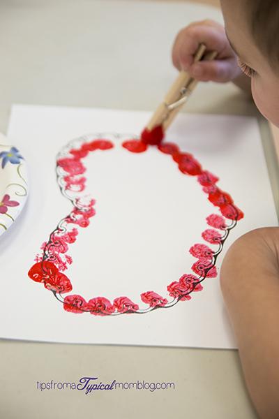 Preschool Valentines Pom Pom Painting