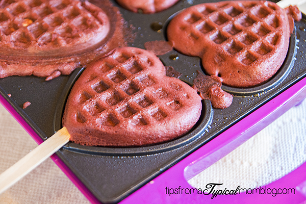 Red Velvet Waffles on a Stick