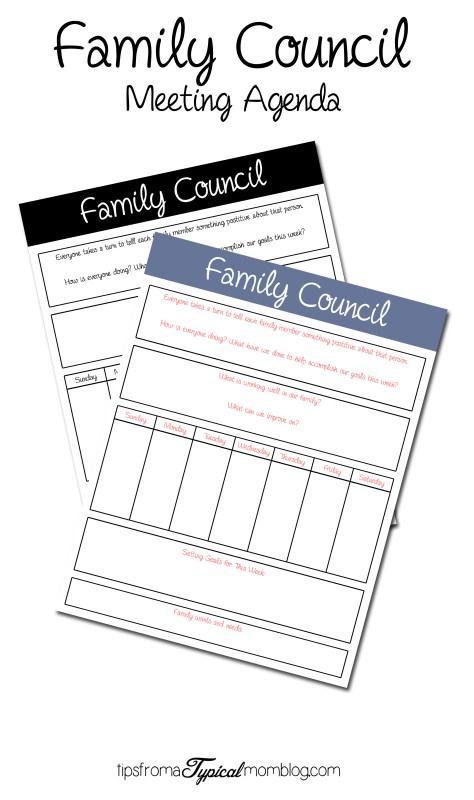 Family Counsil Meeting Agena Free Printable
