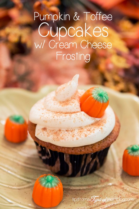 Pumpkin & Toffee Cupcakes with Cream Cheese Frosting