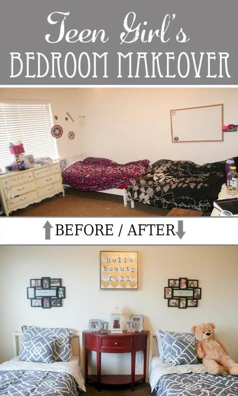 Gray & Red Teen Girls Bedroom Makeover Ideas
