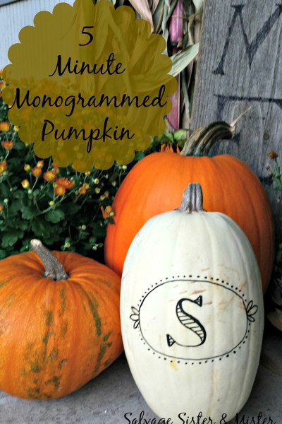 Five Minute Monogrammed Pumpkin