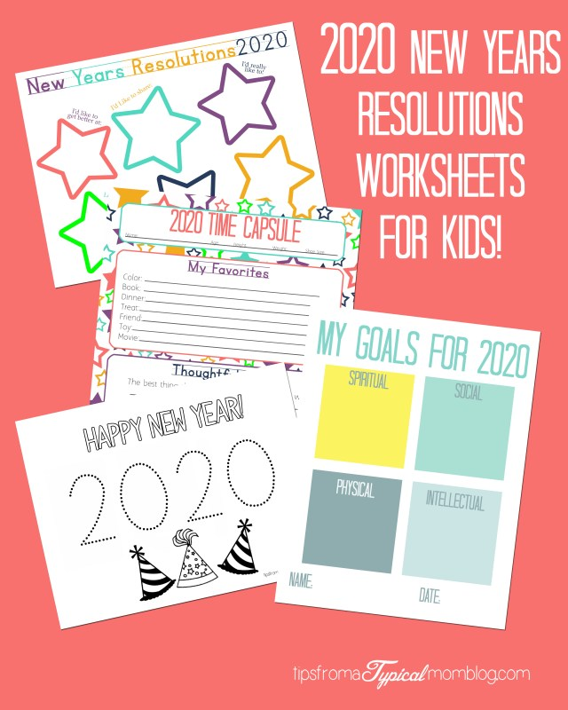 2020 New Years Resolution Worksheets for Kids