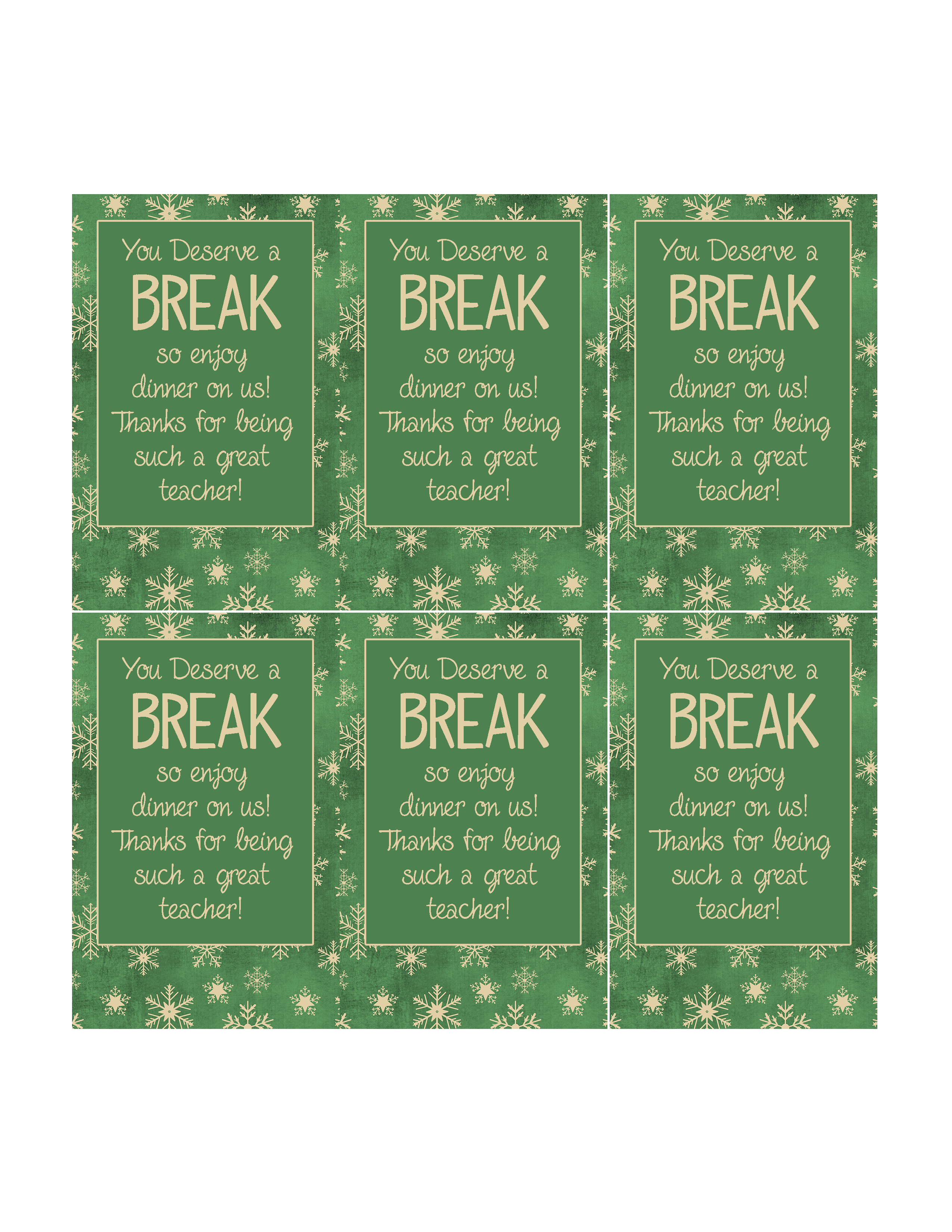 graphic regarding You Deserve a Break Printable named 8 Easy and Simple Trainer Xmas Reward Plans with Printable