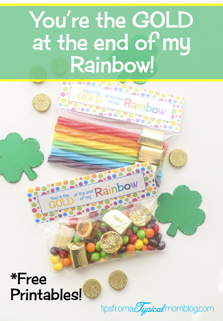photograph regarding Free Printable Treat Bag Toppers referred to as Youre the Close of My Rainbow Absolutely free Printable Deal with Bag Topper